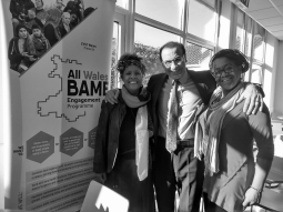 Group: Bridgend Minority Ethnic Forum: L-R: Yvonne Howard-Bunt; Suleman Hawas; Yaina Samuels